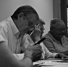 Simpson at a By-Laws Committee meeting. Photo: Peyton Lea.