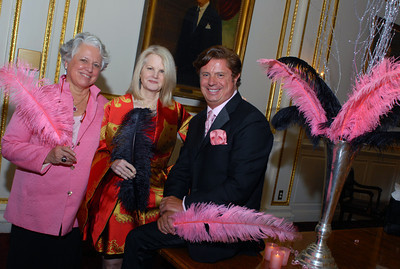 L to R: Gala Co-Chairs Nancy Barton and Carole Johnson with centerpiece designer Jean Doyen de Montaillou.